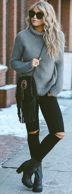 Grey Sweater + Black                                                                             Source