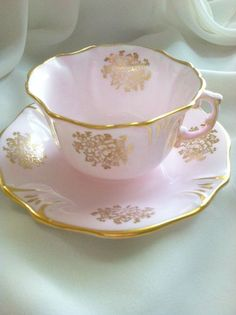 panese teacup and saucer set | Fabulous...Hammersley pink and gold Tea Cup