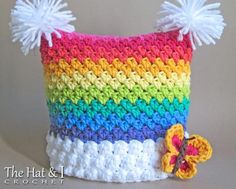 Crochet Hat PATTERN - Over the Rainbow - crochet pattern for rainbow hat, square beanie in 6 sizes ( Bonnet Crochet, Crochet Baby Hats, Crochet Beanie, Crochet For Kids, Crochet Hooks, Knit Crochet, Free Crochet, Funny Crochet, Crochet Crafts