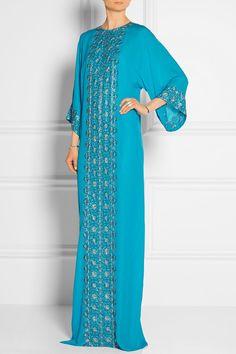 0e2571735e Oscar de la Renta Oscar De La Renta Embellished Silk-Chiffon Gown Kaftan  Abaya