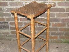 Vintage Woven Seat Wood Bar Stool - Rustic - Farmhouse - Primitive Barrel Bar, Wood Bar Stools, Rustic Farmhouse, Primitive, Dining Room, Furniture, Vintage, Etsy, Home Decor