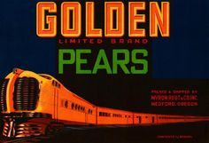 Medford, Oregon OR - Golden Limited Locomotive Train Pear Fruit Crate Box Label Art Print