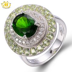 HUTANG 4.406ct Natural Chrome Diopside & Peridot Solid 925 Sterling Silver Ring Gemstone Fine Jewelry Women's
