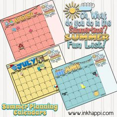 June July and August summer planning calendars to be ahead of the game before the kids start asking what there is to do!