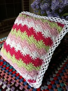 girly crochet pillow made by scotty