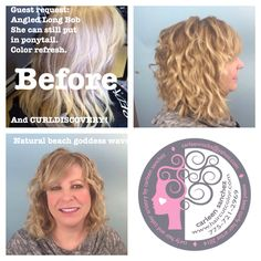 Naturally curly hair needs to be cared for different than straight hair.  This Transformation from Straight minimal layers to Naturally wavy bob and buttery blonde was done by Carleen Sanchez Reno Nevada Curl and Color Artist. www.haircutcolor.com