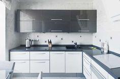 contemporary kitchen design in gray and white