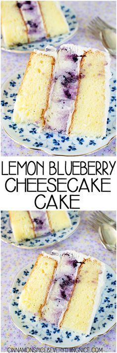 Lemon Blueberry Cheesecake Cake - this is always a hit - one of the best cakes I ever ate! Lemon Blueberry Cheesecake, Cheesecake Cake, Blueberry Recipes, Cheesecake Recipes, Dessert Recipes, Blueberry Cupcakes, Coconut Dessert, Bon Dessert, Dessert Aux Fruits