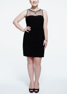 Plus Size Sleevless Jersey Dress with Beaded Illusion Neck - Black, XXL