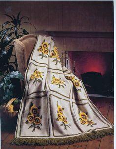 Girassol Tesouro dos Afegãos Bernat Afegã Tricô Dívida Artesanato Antro -  /    Sunflower Treasury Bernat Afghan Afghan knitting Debt Antro Crafts -