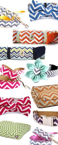 Summer fun for your dog! Lots of cute collars, leashes, and beds in breezy colorful chevron patterns. Take a peek.