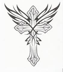 free printable cross with wings coloring pages for adults - Google Search