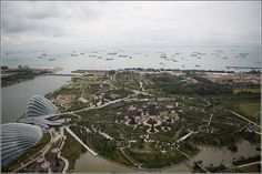 Gardens by the Bay and Supertrees - view from Skydeck tour Sky Park at Marina Bay Sands Hotel – Singapore, Asia