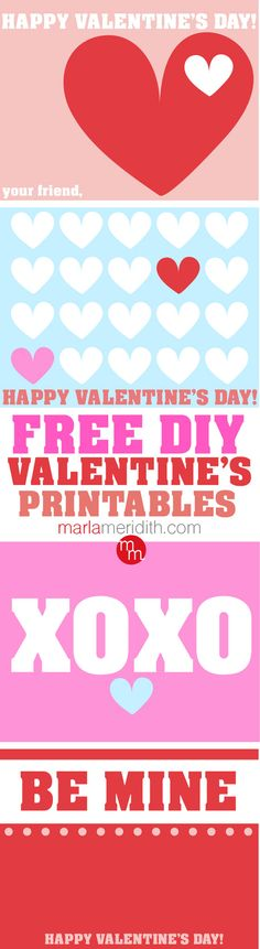 Free DIY Valentine's Printables | Perfect for school parties! MarlaMeridith.com
