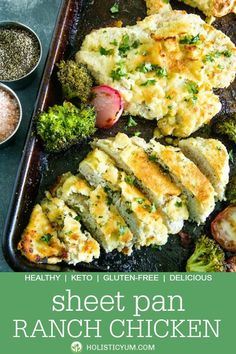 Delicious crispy almond flour breaded chicken and veggies seasoned with ranch mix. An easy and savory low carb weeknight dinner made all in one pan. Low Carb Chicken Recipes, Cooking Recipes, Healthy Recipes, Pan Cooking, Protein Recipes, Salad Recipes, Keto Recipes, Chicken Broccoli, Chicken And Vegetables