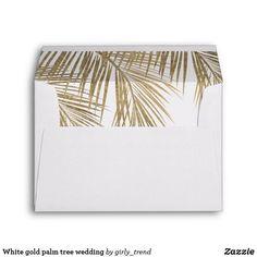 White gold palm tree wedding envelope Gold Wedding Theme, Beach Wedding Favors, Tree Wedding, Wedding Envelopes, Wedding Invitations, Custom Printed Envelopes, Beach Themes, Christmas Card Holders, Wedding Accessories