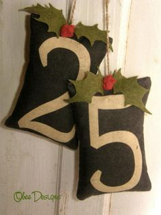 Double Pine Balsam Sachet Hanging on Twine Numbers by Obeedesigns, $16.00