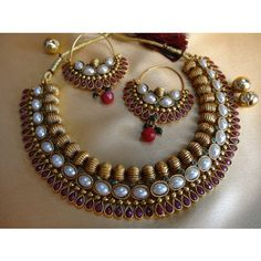 Shop Gorgeous Kundan Choker by Dhaanya online. Largest collection of Latest Necklaces online. Indian Jewellery Online, Silver Jewellery Indian, India Jewelry, Temple Jewellery, Gold Jewellery, Jewelry Sets, Antique Jewellery Designs, Antique Jewelry, Jewelry Design