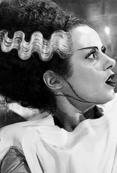 Très Blasé Très Blasé Elsa Lanchester in The Bride of Frankenstein What makes this look futuristic: robotic expression, hair's contrast and sharp geometry, sharp unnatural eyebrows<br>