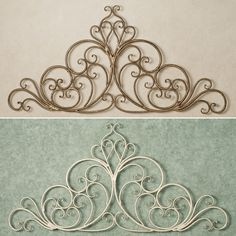 wrought iron scroll wall art | ... wall grille antique gold sale price $