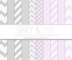 Free Digital Paper Set: Gray and Pink