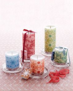 Decorative Decal Pillar Candles pretty but uses special paper