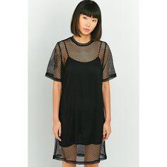 Cheap Monday Black Mesh Dress (€47) ❤ liked on Polyvore featuring dresses, black, short-sleeve dresses, crew neck dress, cheap monday dress, spaghetti strap dress and cheap monday