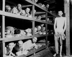 """These are slave laborers in the Buchenwald concentration camp near Jena; many had died from malnutrition when U.S. troops of the 80th Division entered the camp."" Pvt. H. Miller, Germany, April 16, 1945."
