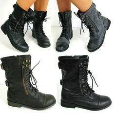 I need these STAT!!!!    WOMAN FLAT LACE UP ARMY BIKER ANKLE BLACK LADIES MILITARY BOOTS