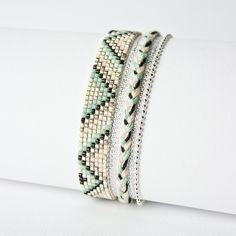 BRACELET TISSÉ PERLES MIYUKI / ARGENT, VERT D'EAU, NUDE ET NOIR / : Bracelet par tadaam-bijoux