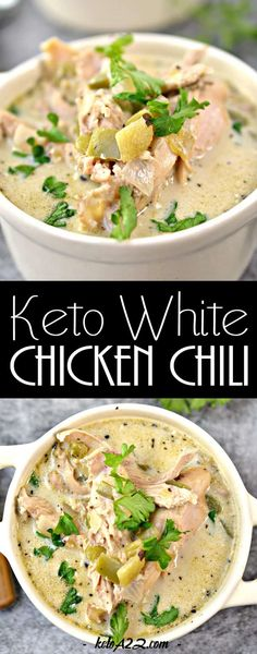 This White Chicken Chili will quickly become your go-to keto chili recipe! It's light but filling and so easy to make! Great for keto meal prep too! Keto Chili Recipe, Keto Crockpot Recipes, Soup Recipes, Dinner Recipes, Healthy Recipes, Chicken Chili Recipes, Smoothie Recipes, Keto Recipes With Bacon, Spinach Recipes