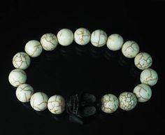 Turquoise Black Skull & White ball Bead Chain Bracelet
