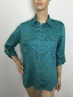 Jaclyn Smith Button Down Shirt Gold Toned Buttons Roll Tab Sleeves Medium   eBay