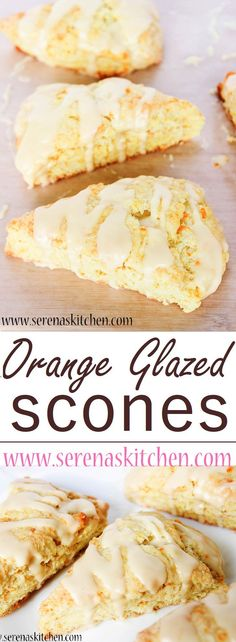 Orange Glazed Scones - perfect for breakfast or a snack. Light, tender, flaky scones packed with orange flavour and covered with a sweet orange glaze