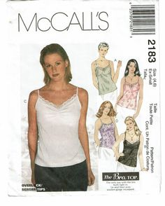 McCALLS PATTERN 2183 MISSES TOPS WITH BUILT-IN BRA SIZE 4-6