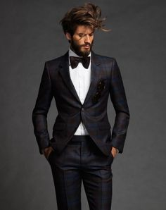 subtle plaid modern fashion with a twist #modern #style #black #suit #black #bowtie #white #buttonup #wildhair #hair #flash #highfashion #luxury #style #makeitcount #lookinggood #lookingnice #mensfashion