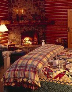 Chambre cosy avec cheminée #chambre #cosy #cheminée #feu #flammes #chauffage