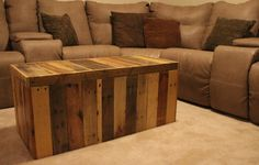 "made entirely out of shipping pallets. The finish is natural wood with a clear lacquer applied. It measures 40"" wide, 18"" tall and 17"" wide. It is a great conversation piece, great for storage, and can even be utilized as a bench or a coffee"