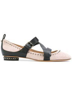 Valentino strap and stud detail ballerinas