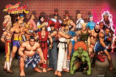A fantastic poster of the characters from the classic Capcom video game Street Fighter! Need Poster Mounts. Street Fighter 2, Street Fighter Video Game, Capcom Street Fighter, Street Fighter Characters, King Of Fighters, Xmen, History Of Video Games, World Of Warriors, Video Game Posters