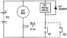 Close To Operate #AlaramCircuit the parallel-connected n.o switches are wired in series with the coil of a 6V relay,and the relay contacts are wired in series with the alarm bell.