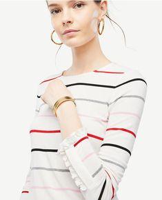 Striped Ruffle Cuff Top