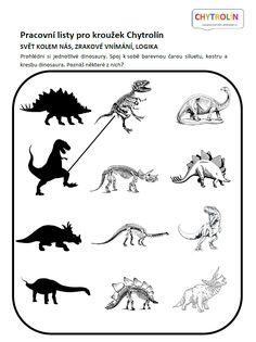 Pracovní list pro předškoláky: Spojte k sobě siluetu, kostru a podobu dinosaura.   TIP: Prohlédněte si s dětmi encyklopedii o dinosaurech, zkuste najít názvy jednotlivých dinosaurů. Čím se živí? V čem se mezi sebou tito dinosauři na první pohled liší? Florence, Kid Stuff, Kids, School, Dinosaurs, Blue Prints, Young Children, Boys, Children