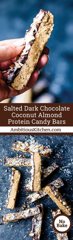 Protein packed almond coconut protein candy bars with a layer of dark chocolate. Delicious and satisfying -- better than a candy bar!