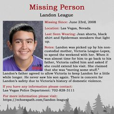 Landon was abducted by his non-custodial mother, who has a history of domestic violence. Please share! Amber Alert, Missing Persons, Cold Case, Have You Seen, Domestic Violence, True Crime, Investigations, Flyers, Mysterious