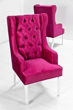 St. Tropez Dining Wing Chair in hot pink Sangria Velvet