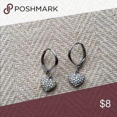 Heart shaped pave drop earrings Barely worn earrings! Nadri Jewelry Earrings