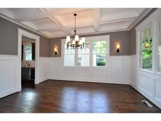 Wainscoting, coffered ceilings