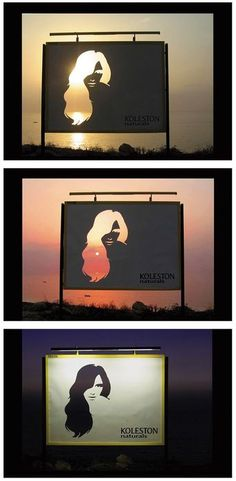 "Kolestron Naturals: Change. ""This outdoor execution was strategically positioned on a promenade. It had an unspoiled view of the sea and skyline behind it. The woman's hair is die-cut in the billboard to capture the variations of Kolestron's Naturals' colors through the different phase of the day and night"
