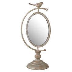 Would be so fun in girls' room on the dresser... Found it at Wayfair - Bird Vanity Mirror in Antique Silver
